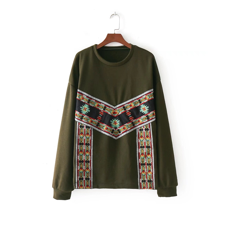2018 New Fashion Women Vintage Ethnic Style Long Sleeve Geometric Embridery Knitting Casual Slim