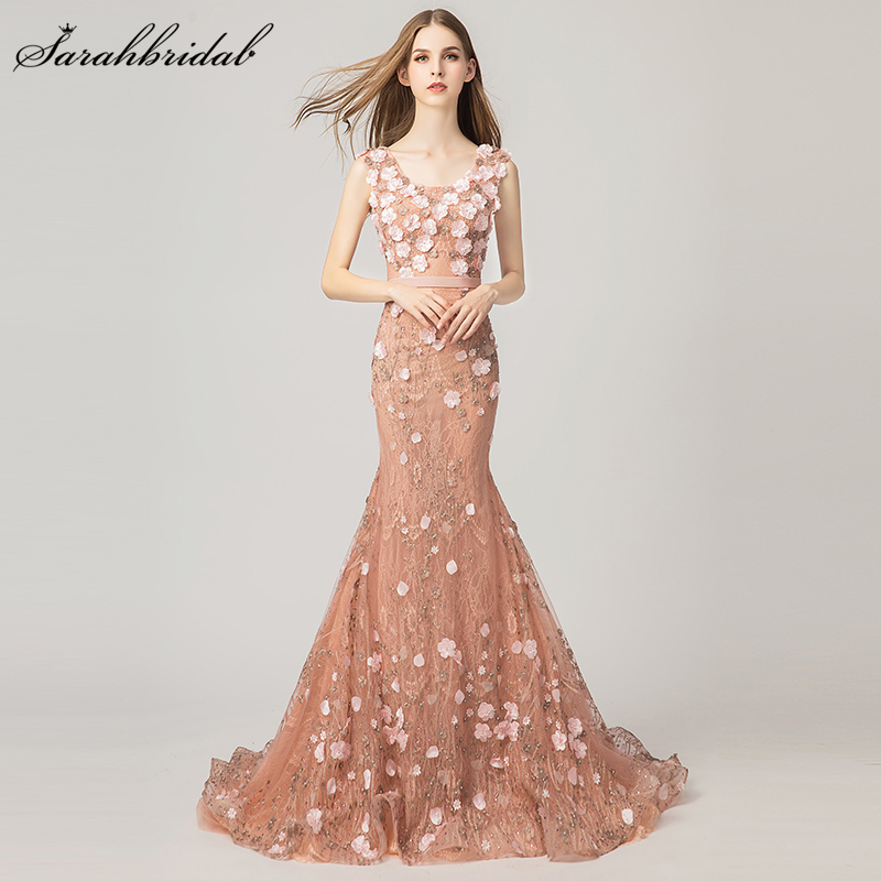 Limited In Stock Few Pieces New Arrivals Mermaid Formal Evening Dresses 2018 Flowers Crystal Beaded Tulle Robe De Soiree WT3174
