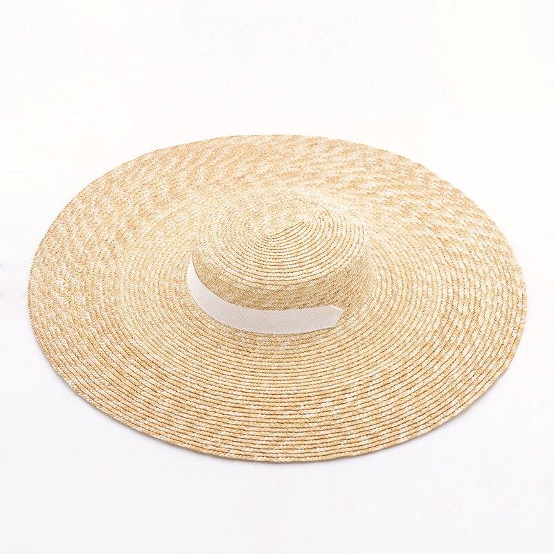 Large chapeau à bords D'été Plage De Paille De Blé Femmes canotier avec Ruban Cravate Pour Vacances Vacances Audrey Hepburn 671073 - 5