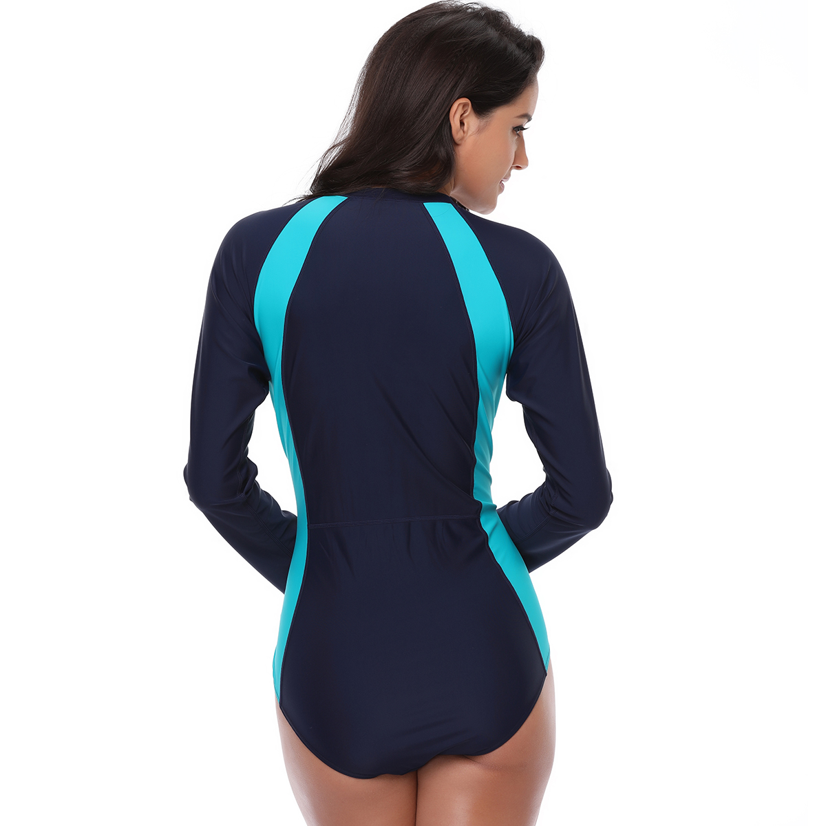 c6d12d4786242 Plus Size Swimwear Women UV Protection One Piece Swimsuit Long Sleeves  Beachwear Bathing Suit Beach Sportswear Surfing Suit-in Body Suits from  Sports ...