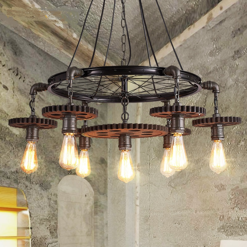 loft retro industrial wind wheel Pendant Lights iron restaurant bar coffee shop personalized  creative lamp GY256  lo9 цена и фото