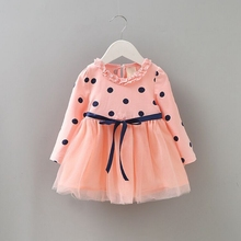 Newborn Baby Girl Clothes New Spring Autumn Casual Fashion Long Sleeve Bow Wave Point Bubble Mesh Princess Dress 0-4Y