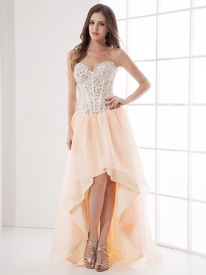 Aliexpress.com : Buy 2017 Coral Beaded High Low Homecoming Dresses ...