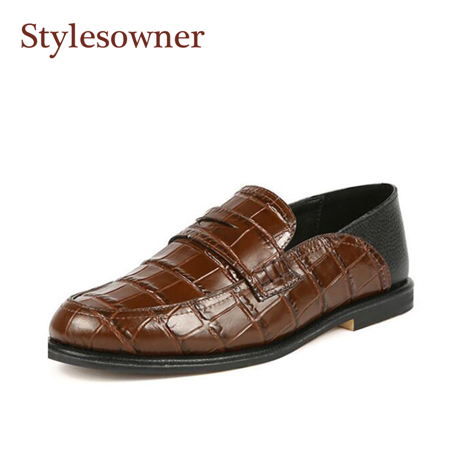 Stylesowner 2018 Spring Shoes Women Black Brown Vintage Stone Leather Flat Loafers Lazy Slip On Round Toe British Style Shoe 2018 brand new spring men slip on shoes breathable shoes british style shoes loafers genuine leather flat shoes wa 03