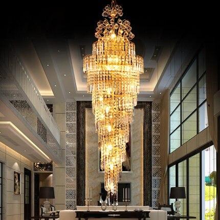 Moderne LED Or Cristal Lustres Lumières Mobilier Accueil Hôtel Grand Projet Cristal Droplights Foyer Escalier Clubs Pendentif Lampes
