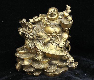 China Bronze Gilt Happy Laugh Buddha Yuanbao On Dragon Turtle Tortoise Statue