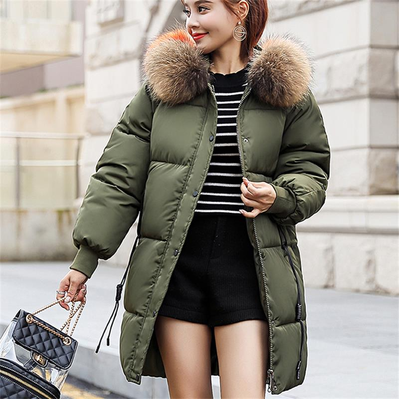 2018 Winter Jacket Women Plus Size Womens   Parkas   Thicken Outerwear Hooded Coats Long Female Wide Delivery Cotton Big Fur Collar