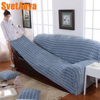 Svetanya Plaid Fleece Slipcover elastic Full Sofa Cover 1234 Seater Couch Chair Case for different Sofa
