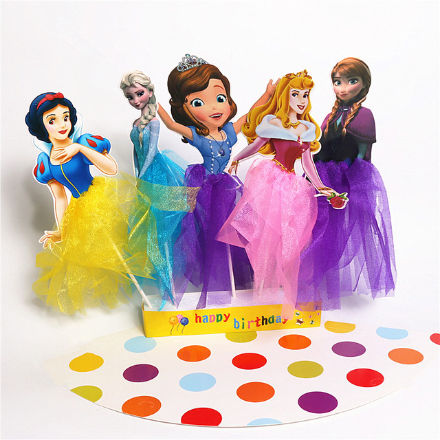 New Snow Queen Elsa Anna Sophia Princess Cupcake Toppers Picks Cake Accessories Kids Birthday Party Supplies