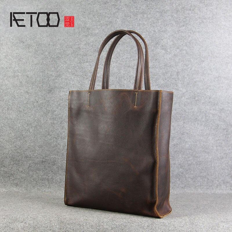 AETOO Handmade original leather bag female bag first layer of leather handbag shoulder bag leisure shopping