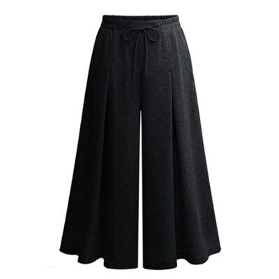 Neue 2018 Sommer Europäischen Stil Kordelzug Hosen Plus Größe 5XL Frauen Capris Breite Bein Hosen Lose Beiläufige Fußkettchen Länge Hose