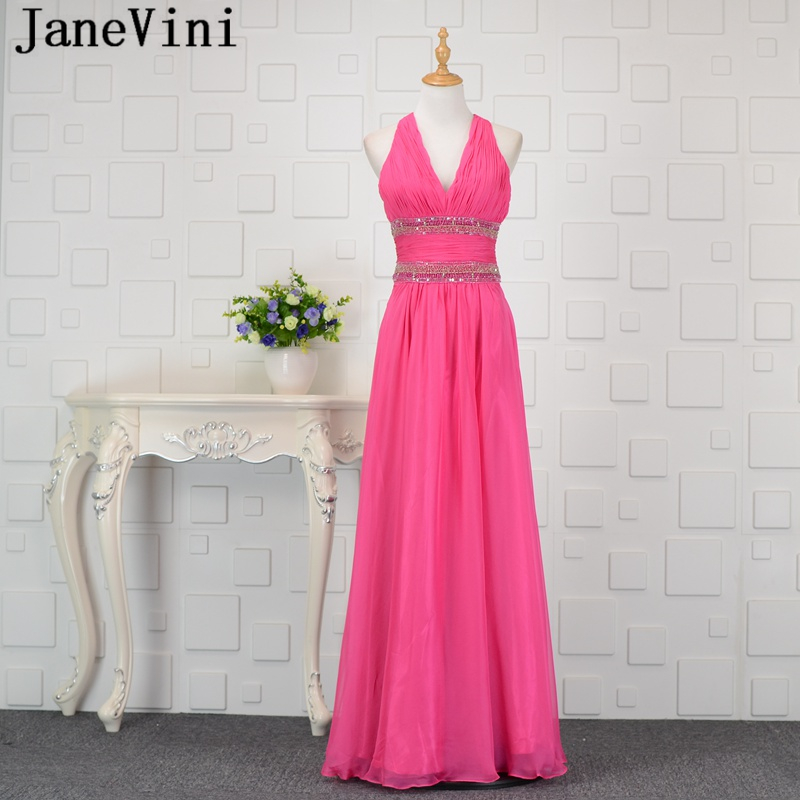 JaneVini A Line Chiffon Long   Bridesmaid     Dresses   Sequins Beads Sexy Deep V Neck Backless Wedding Guest Prom Gowns Robe Mousseline