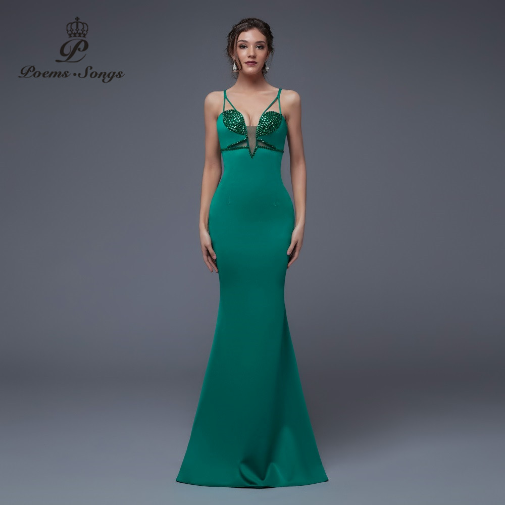 Poems Songs New Sexy Personality Mermaid  Evening Dress prom gownsParty dress vestido de festa Elegant Vintage robe longue