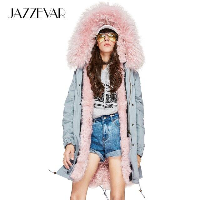 Jazzevar 2017 новая зимняя модная женская кожа ягненка мех ягненка парка миди натуральный мех енота пальто с капюшоном верхняя одежда куртка синего цвета