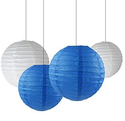 12 Mixed Size White Navy Blue Chinese Paper Lantern Lampshade for Wedding Engagement Baby Shower Birthday Party Decoration