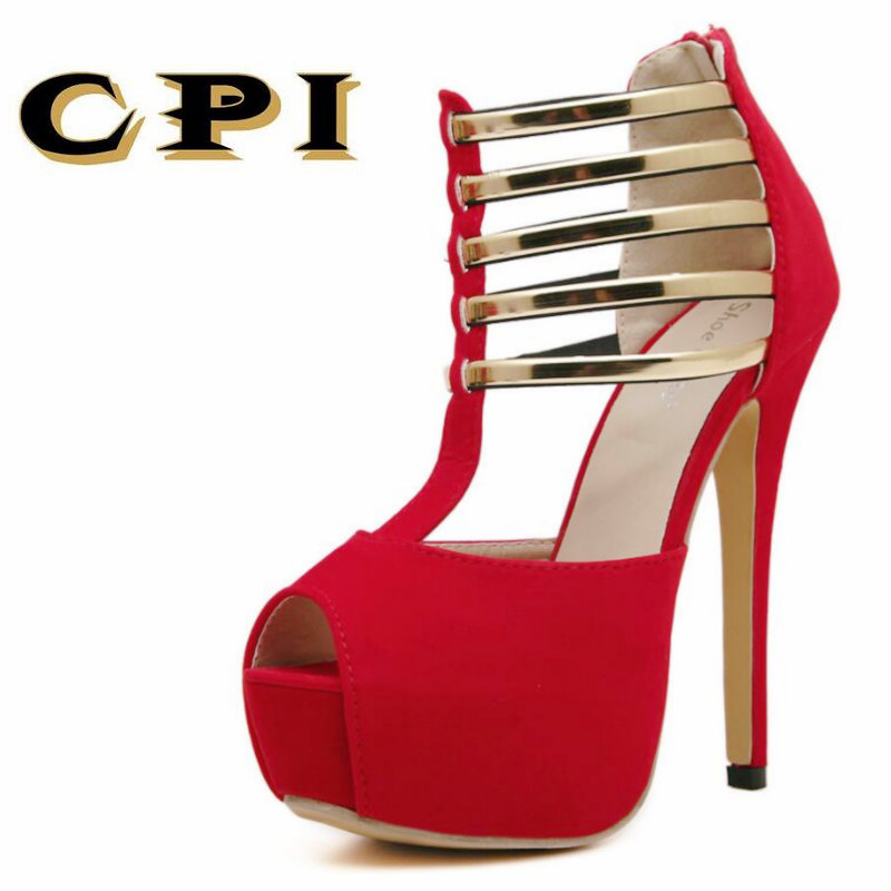 CPI 2018 New summer Ladies High Heels Sandals Women Pumps thin heels 14 cm sexy fashion Party Ladies Pumps Women Sandals KK-68 big size 40 41 42 women pumps 11 cm thin heels fashion beautiful pointy toe spell color sexy shoes discount sale free shipping