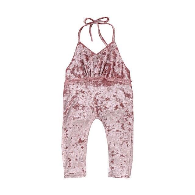 ae05edfa0b70 Toddler Kids Baby Girls Velvet Romper Backless V-neck Rompers Sleeveless  Summer Pink Girl Clothing Jumpsuit Clothes Outfits