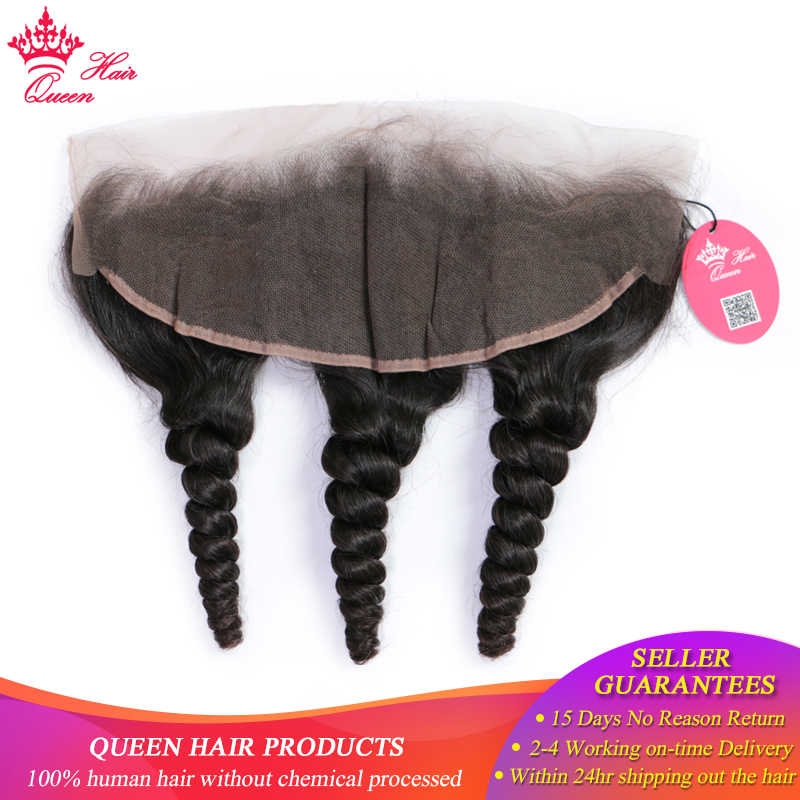 Queen Hair 13*4 Ear to Ear Peruvian Lace Frontal Closure Loose Wave Pre Plucked 10-20inch 100% Remy Human Hair Natural Color 1B