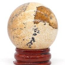 Natural Picture Jasper Ball Mineral Quartz Sphere Hand Massage Crystal Healing Feng Shui Home Decor Accessory 40mm