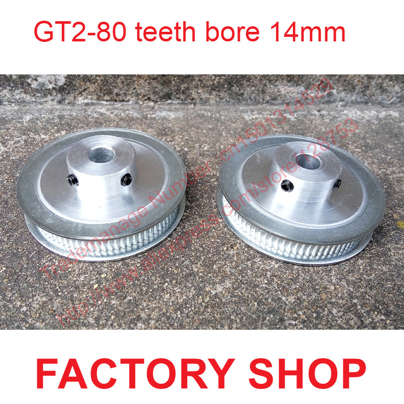 whole sale 2pcs 80 teeth Bore 14mm GT2 Timing Pulley 80 tooth fit width 6mm of 2GT timing Belt High quality Free shipping high quality 1pc 80 teeth gt2 timing pulley bore 5mm 14mm fit width 6mm 2gt timing belt toothed tooth cnc machine 3d printer