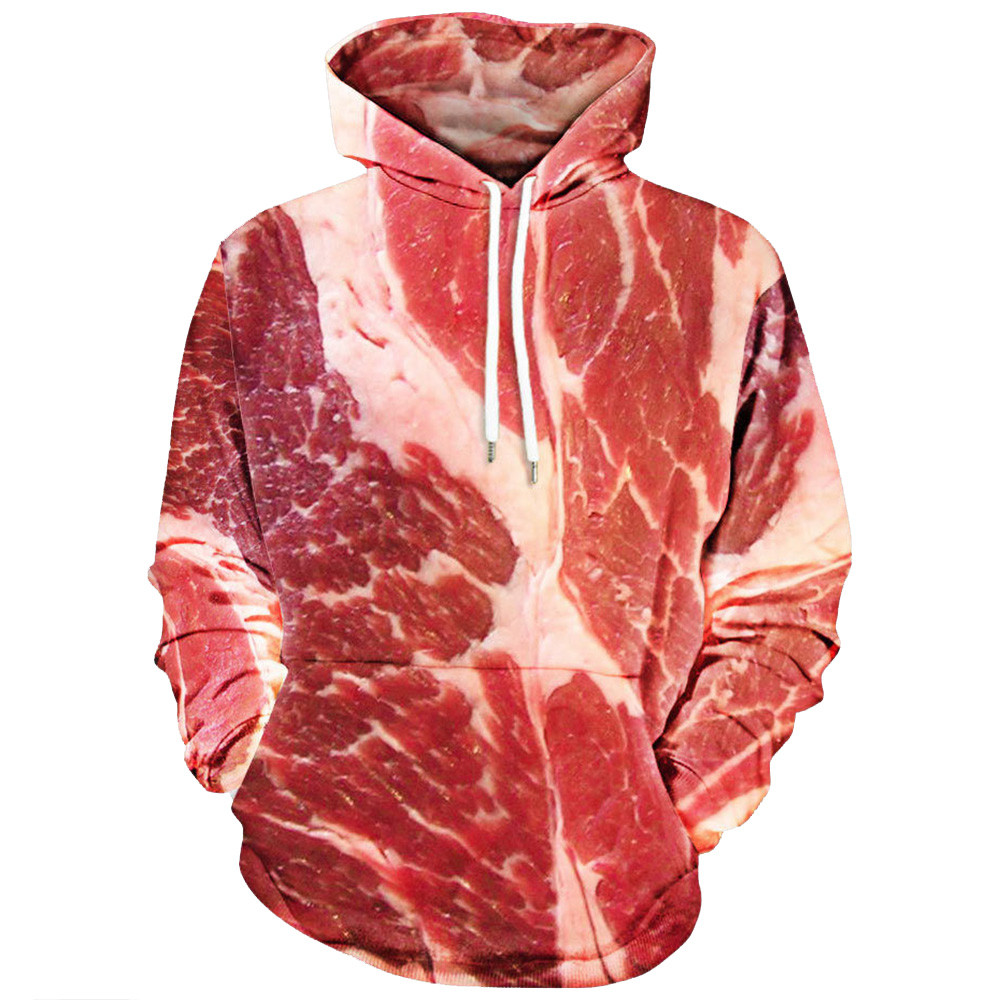 Wholesale Unisex 3D Printed Raw Meat Pullover Long Sleeve Hooded Unique Design Hoodies #2730