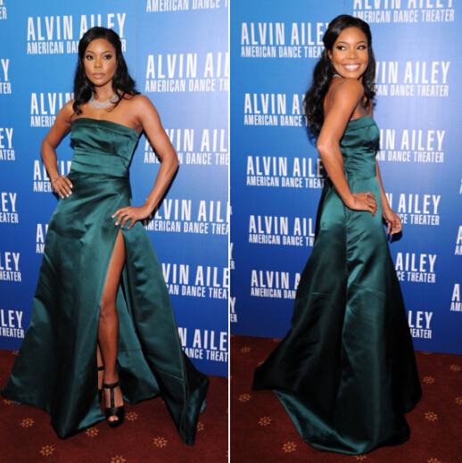 971df7575b US $149.0 |Gabrielle Union dark green gown 2013 Alvin Ailey American Dance  Theater Opening Night Celebrity evening Dress-in Celebrity-Inspired Dresses  ...