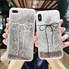 Quicksand Capinha For iPhone X 7 8 Plus Xs Max Xr Hard Case 6 6s Dynamic liquid Bow Tie Bling ipone Shell