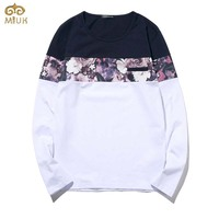 Large Size Floral T Shirt Men M~5XL National Style Hip Hop Cotton Tshirt Homme Brand Clothing White Navy Camisa Masculina 2017