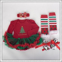 Christmas Baby Rompers Baby Girls Dress Bodysuit Lace New Born Autumn Bebe Clothing Infant Clothes 4pcs Sets