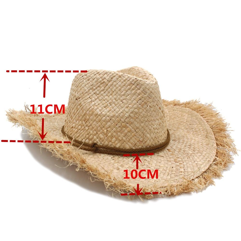 Trabalho manual puro verão ráfia palha chapéu de vaqueiro para cavalheiro  dos homens das mulheres aba larga cap velejador sombrero panamá jazz chapéus  ... f20fe9914dd