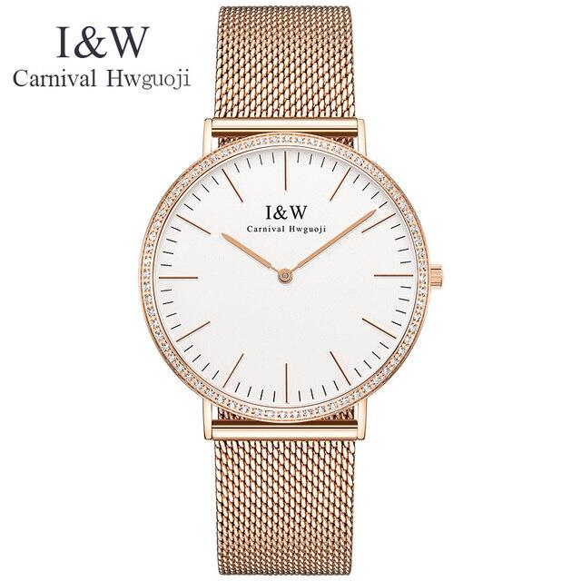 Original CARNIVAL Luxury Couple Watch Top brand Quartz Ultrathin Unisex Watch Waterproof Fashion Casual full steel reloj mujer