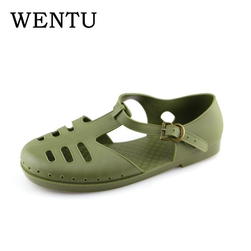 wholesale dealer 0827c 330ce US $26.97 18% OFF|WENTU Men Sandals Classic Retro 60s Fashion Shoes Close  Toe Sandals Rubber Summer Father's Sandals Green Brown Size 10 11-in Men's  ...