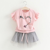 2017 Girl Clothes Summer Fashion Children Girls Clothing Flowers Decorated Petals Sleeves T-shirt+Short Dress Girls Clothes