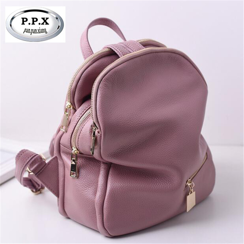 Genuine Leather Women Backpacks Cow Leather Bags Daily Pack Simple Personality Travel Backpack Occident Fashion School Girl M442