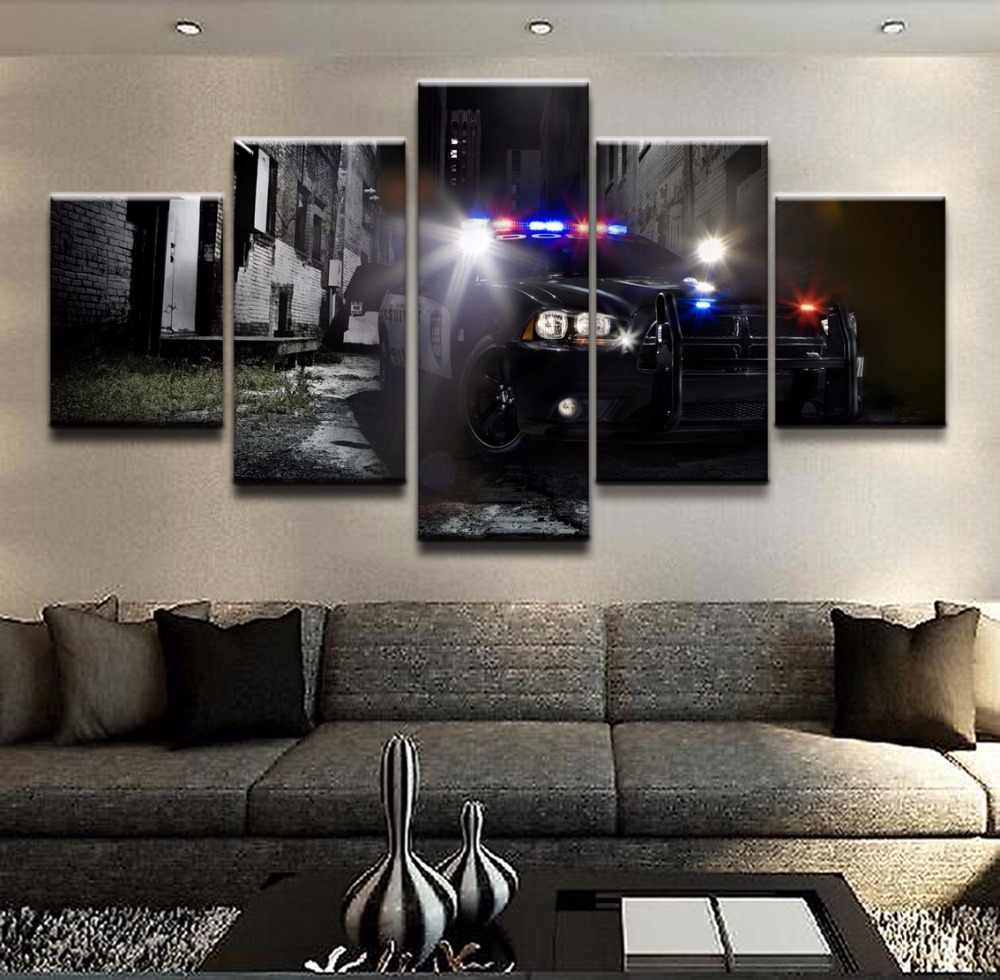 Unique Wall Art Pictures Living Room Decor One Set Posters 5 Pieces The Police Car Top Rated Canvas Print Paintings Framework The Paintings Art Pictureswall Art Picture Aliexpress