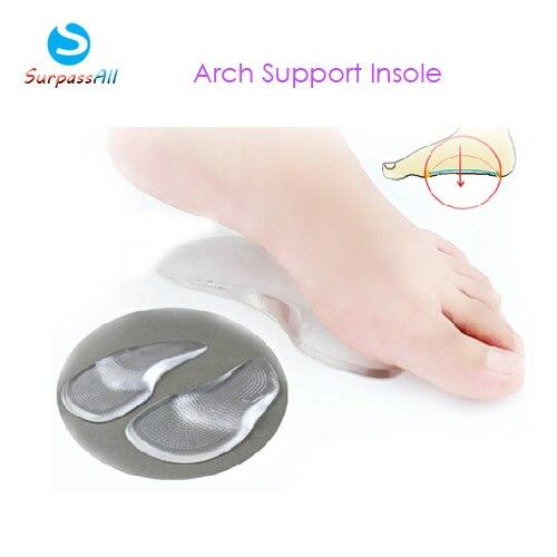 Hombres / mujeres de Gel de silicona ortopédica ortesis tacones altos Arch Support zapato inserta Pad plantillas para pie plano alivio del dolor