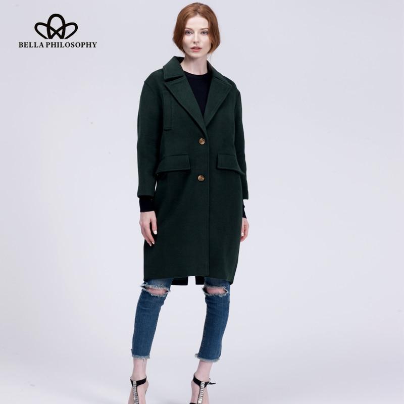 Bella Felsefesi 2018 Yeni yün uzun kalın ceket ceket Kadınlar - Bayan Giyimi - Fotoğraf 6