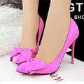 Женщины Насосы НОВЫЙ Сексуальный Высокие Каблуки Сладкий боути Острым Носом женская Обувь розовый замша свадьба офисные каблуки ALF171