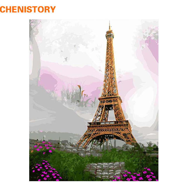 CHENISTORY Modern Painting The Eiffel Tower Landscape Diy Painting ...