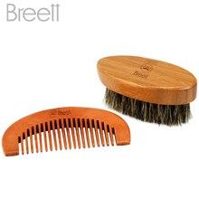 Breett Beard Comb Bristles Beard Brush Pure Natural Schima Wood Comb, Beard Stylish Tool Set Beard Comb Kit for Men