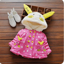 Korean Autumn baby gril coat carton cotton thicken fashion children long sleeve jacket warmth casual infant clothing for 6M-3T