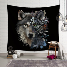 Fashion Cool Animals Tapestry Wall Hanging Wolf Owl Printed Macrame Witchcraft Hippie Decorative Polyester Shawl pad