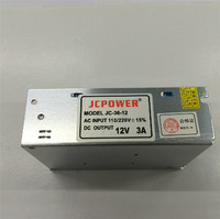 Free Shipping AC 110 240V To DC 12V 3A Switching Power Supply Converter With Power Cable