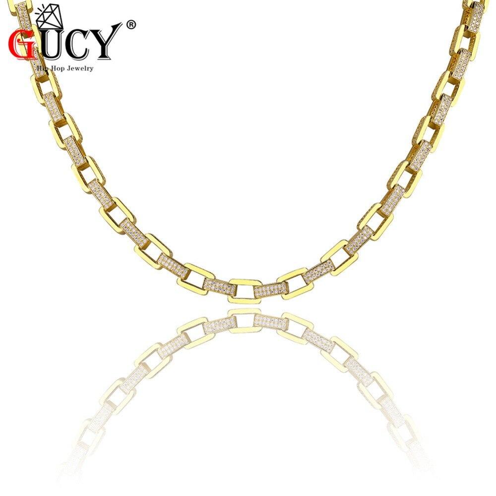 GUCY Hip Hop collier tout glacé couleur or/argent plaqué Micro pavé CZ pierres chaîne colliers pour hommes 18
