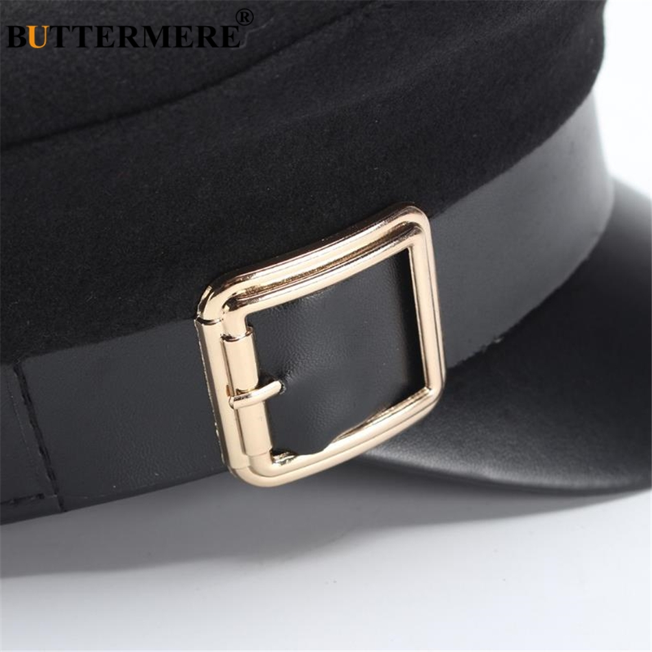 BUTTERMERE Military Hat Women Army Cap Woolen Patchwork Leather Black Baker Boy Hat Spring Autumn Brand Sailor Flat Top Hat in Women 39 s Military Hats from Apparel Accessories