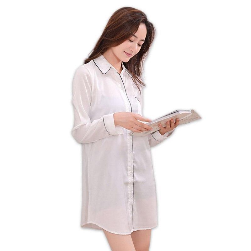 Sexy spring satins silk white   nightgown   women nightshirts long sleeve   sleepshirts   fashion plus size nightdress women sleepwear