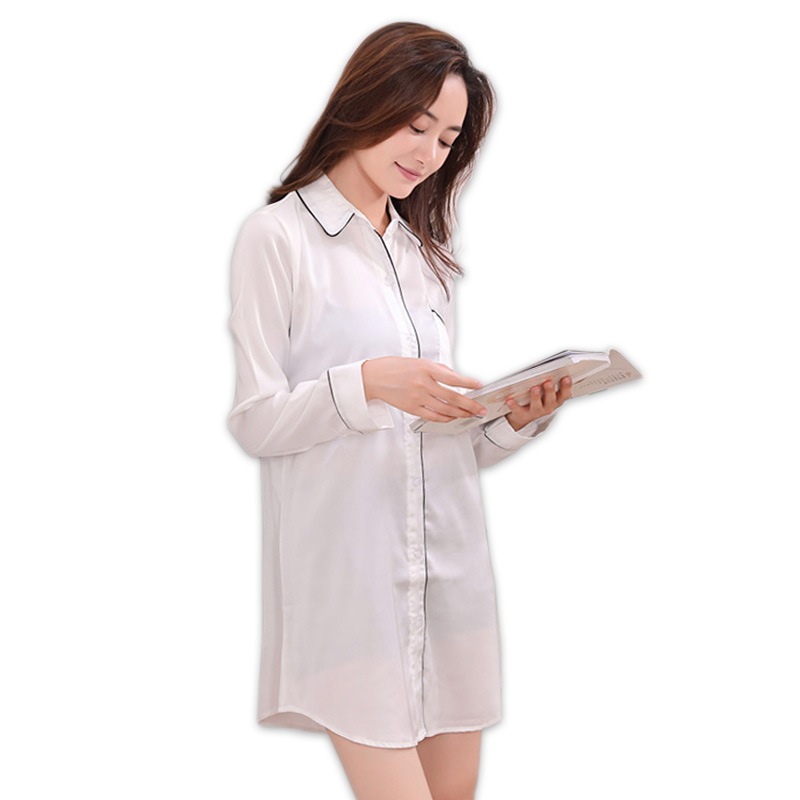 6f4bbe239dc1 Sexy spring satins silk white nightgown women nightshirts long sleeve  sleepshirts fashion plus size nightdress women sleepwear