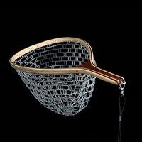 60cm High Quality Black Nylon Fly Fishing Hand Dip Net Single Net Environmental Fishing Nets Anti hand off Non stick Fish Deep