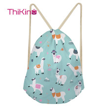 Thikin Cartoon Alpaca Casual Sack Drawstring Bag for Women Travel Backpack Toddler Softback Lady Beach Mochila DrawString Bag