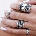 Чешского стиль 4 шт. / Pck старинные анти-серебристый кольца слон тотем счастливый кольца , установленные для женщин ну вечеринку бесплатная доставка